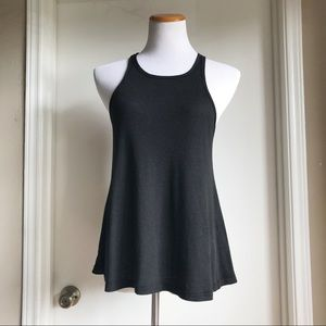 Free People Black Ribbed Flared Tank Top